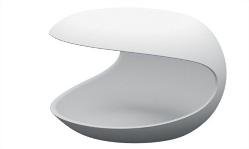 Zanotta White Shell Occasional Night Table