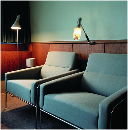 Designswelove room 606 the arne jacobsen suite at the for Arne jacobsen hotel
